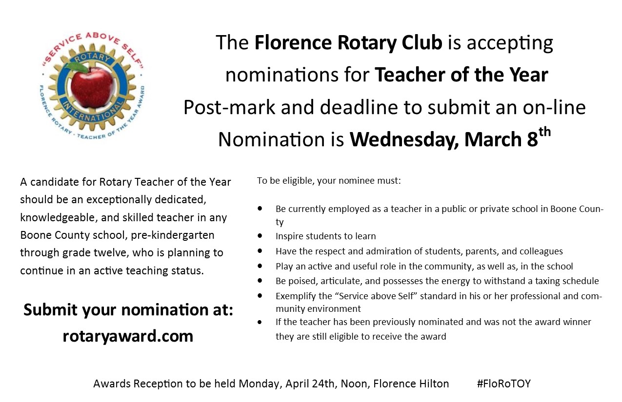Florence Rotary Teacher of the Year Award Nominations