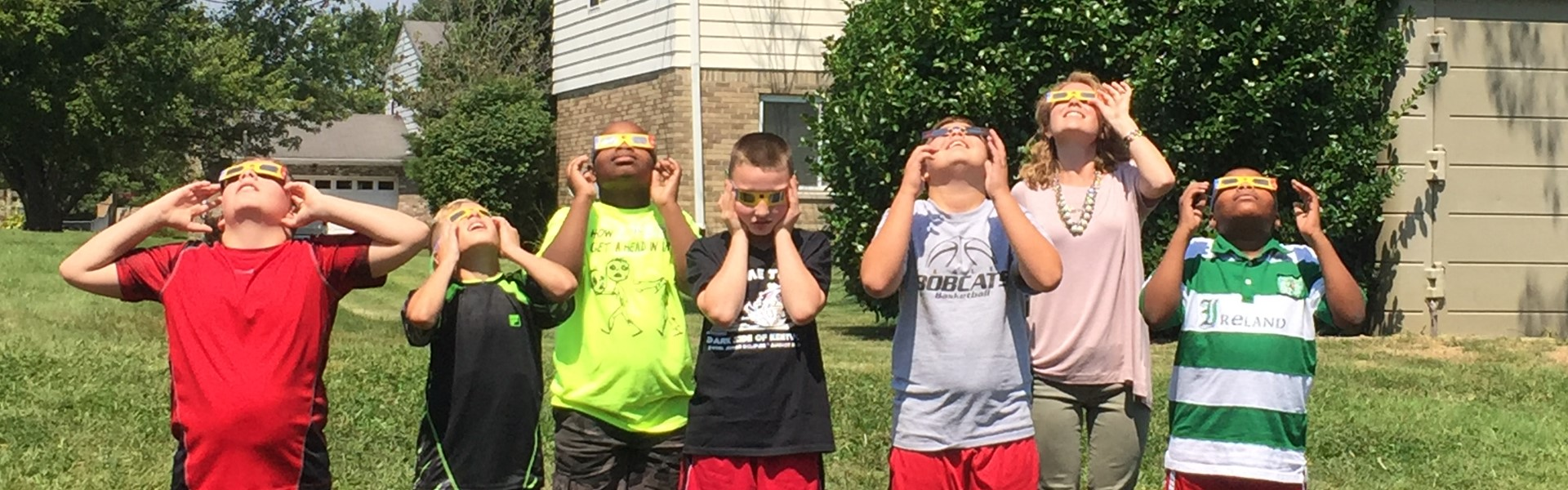 Watching the solar eclipse with Ms Anderson